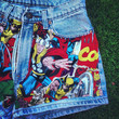 MARVEL Comics Vintage High Waisted Denim Jean Shorts ALL Sizes Available