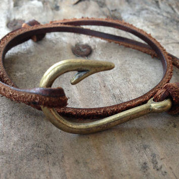Leather Fish Hook Bracelet