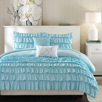 Light Blue Full/Queen 5-Piece Comforter Set with 2 Shams & 2 Pillows