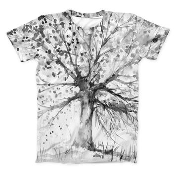 The Abstract Black and White WaterColor Vivid Tree ink-Fuzed Unisex All Over Full-Printed Fitted Tee Shirt