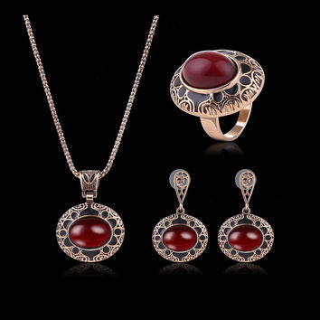 Turkey Series Red Rubellite Necklace Ring Retro Earrings Birthday Gift Jewelry Set