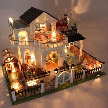Miniature Villa Wooden DIY Dollhouse, With LED Lights