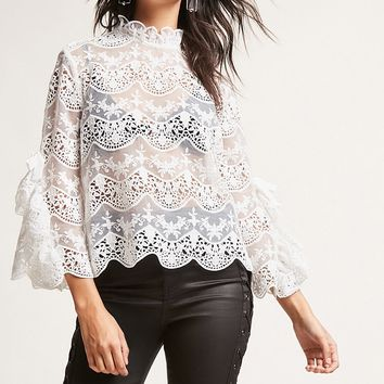 Sheer Lace Mock Neck Top
