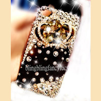 iPhone 4 case - best iphone 4 case - Crystal iPhone 4 Case - unique iphone 4 case - Bling crown iphone 4 case - Black iphone 4 cover