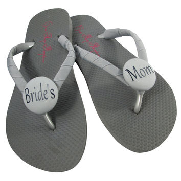 Gray or choose colors/ Bride's Mom Wedding Shoes, Flip Flop Sandals