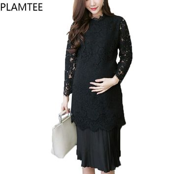 Long Sleeve Splice Maternity Dresses Lace Knee-Length Dress For Pregnant  Women