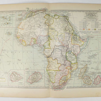 1899 Antique Africa Map, Vintage Map of Africa, Travel Gift, 1st Anniversary Gift for Couple, Africa Gift Under 30, African Decor Wall Art