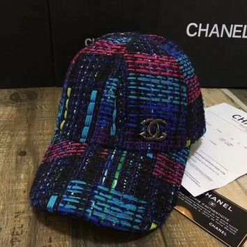 Chanel Fashion All-match Multicolor Weave Flat Cap Baseball Cap Women Hat-1