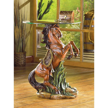 Horse Glass Top Table 50% OFF