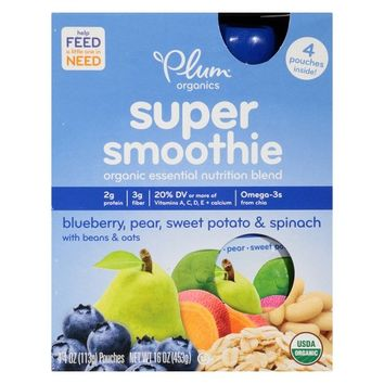 Plum Organics Super Smoothie - Blueberry Pear 16oz (4 pk)