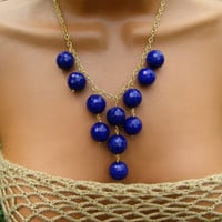 Cobalt Blue Bib Necklace. Navy Blue Necklace. Monaco Statement Necklace.