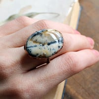 Size 7.5 - Dendritic Agate Electroformed Ring