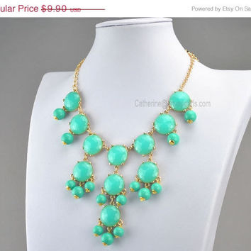 Bubble Necklace, Lake Blue Necklace, Gold Tone Necklace, Mini Turquoise Green Necklace, Statement Necklace (FN0584-Turquoise Green)