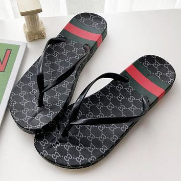 GUCCI Fashion New More Letter Flip Flops Slippers Women Shoes Black