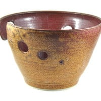 Ceramic Yarn Bowl Large Speckled Tan Brown Rust Red Handmade Pottery Gift for Knitters Crochet