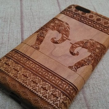 Wood iPhone case,  iphone 6/plus case, iphone 4 case iphone 5 case. iphone 5c case, wood case, iphone case, Aztec&double elephants case