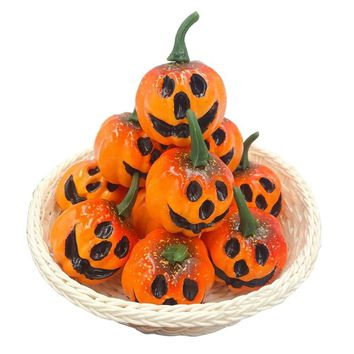 12pcs/pack Simulation Artificial Mini Foam Pumpkins with Carved Face Holloween Decor Photo Props Halloween Party DIY Supplies
