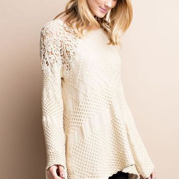 Traveling Lace Crochet Oatmeal Knit Sweater
