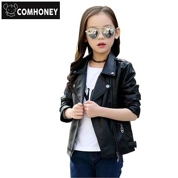 Winter Kids PU Leather Suede Outerwear Coats School Boys Girls Motorcycle Biker Black Jackets Winter Children Clothing
