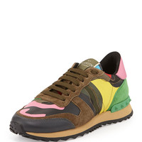 Valentino Psychedelic Camouflage Sneaker, Army Green/Multi