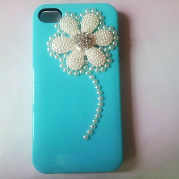 iphone 4s case cover white beads flower blue hard case cover for iphone 4G 4GS AB48