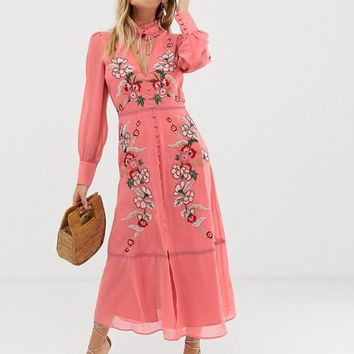 Hope & Ivy embroidered midaxi dress in pink | ASOS
