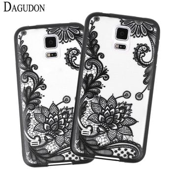 DAGUDON Lace Cases For Samsung Galaxy S5 Full Edge Protective Mandala Vintage Clear PC Back cover for Samsung S5 Phone Case Capa