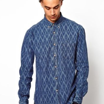Dansk Shirt with Ikat Pattern - Blue