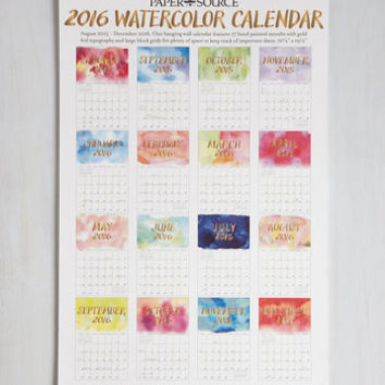 Dorm Decor Watercolor Me Rad 2015-2016 Wall Calendar by ModCloth