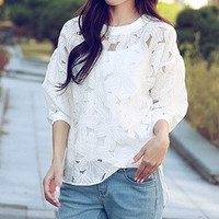 White Floral Cutout Lace Bishop Sleeve Blouse