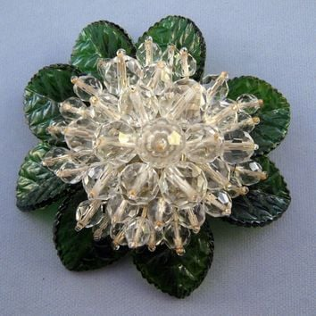 Unsigned WWII Miriam Haskell Green Glass Leaf Beaded Flower Pin