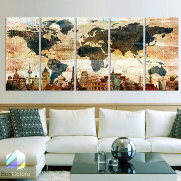 "XLARGE 30""x 70"" 5 Panels Art Canvas Print Original Wonders of the world Texture Map travel Wall decor Home interior (framed 1.5"" depth)"