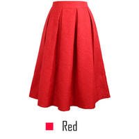 Vintage Women Skirt New Fashion Vintage Casual Pleated Knee-length Midi Skirt Skater Women's Skirt