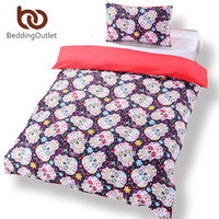 BeddingOutlet New Sugar Skull Bedding Duvet Cover Set Twin Full Queen Sugar Skull Halloween Bedding Set Reach to Most Country