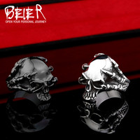 316L Stainless Steel Jewelry Men's Gothic Punk Claw Thingking Skull Skeleton Rings US Size