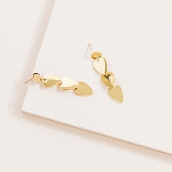 Arrows Down Dangle 14K Earrings