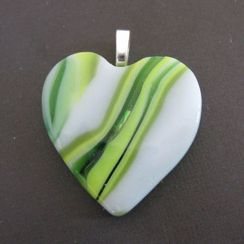 Fused Glass Heart Pendant with Yellow, White and Green Glass, Heart Slide - Crazy in Love - 3868