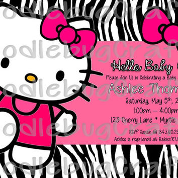 It's a Girl! Hello Kitty Custom Baby Shower Invitations - Personalized with 24hr turn-around. Printable 4x6 or 5x7 Image! - Zebra Print Pink