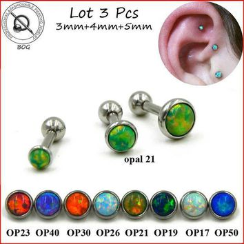 ac PEAPO2Q BOG-Lot 3pcs 316L Surgical Steel Ear Tragus Cartilage Barbells Piercing Stud Ring With Opal Stone 16g Body Jewelry Earring