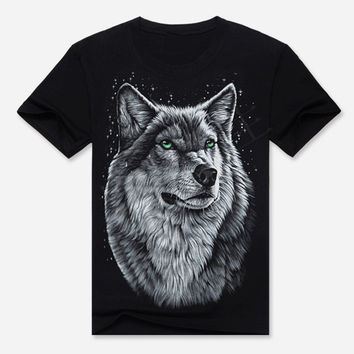Black Wolf King Print Short Sleeve Graphic T-Shirt