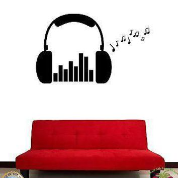 Wall Stickers Vinyl Decal Headphones Music Rock Notes Unique Gift (z1627)