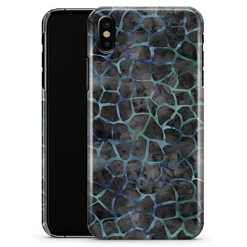 Black and Blue Watercolor Giraffe Pattern - iPhone X Clipit Case