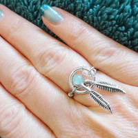 Light Blue Amazonite Dream Catcher Ring