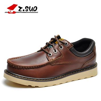 Genuine Leather Mens Shoes Lace-up Men Casual Shoes Leather Shoes Flat Tooling Male Oxfords Shoes