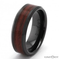 8mm Red Wood Black Ceramic Ring | Hip Hop Jewelry | Urban Style Ring
