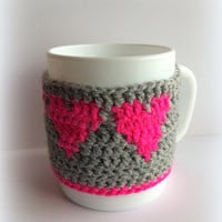 Heart cup cozy, Gray cup cozy, Gray cup sleeve, Pink cup cozy, Coffee mug warmer,Coffee sleeve,Coffee cup sleeve,Tea cozy,Cup cozy,Mugwarmer