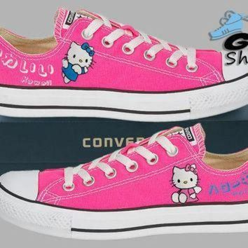 ICIKGQ8 hand painted converse lo hello kitty sanrio anime kawaii pink handpainted shoes