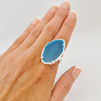 Agate Slice Statement Ring- Blue with Silver