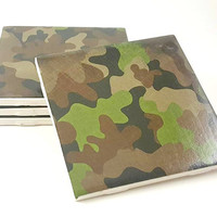 Camo Coasters - Camo Gifts - Handmade Coasters - Gift for Him - Drink Coasters - Military Gifts - Ceramic Coasters - Holiday Gift
