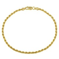 Gold Plated Sterling Silver 060-Gauge Diamond-Cut Rope Chain Anklet, 9""